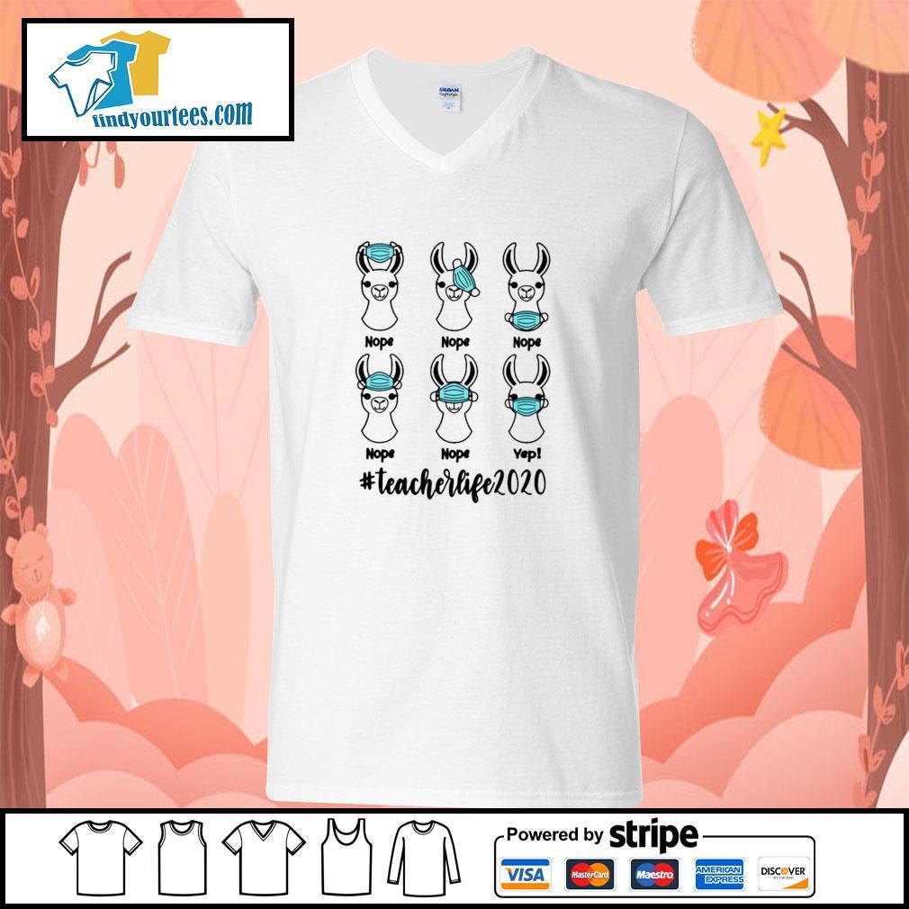 Llama mask nope #teacherlife 2020 s v-neck-t-shirt