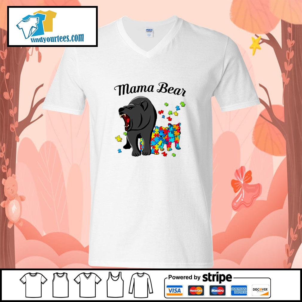 Mama bear protect child autism s v-neck-t-shirt