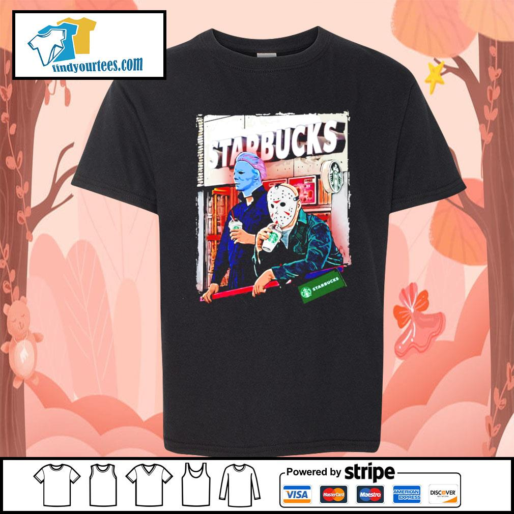 Michael Myers and Jason Voorhees drink Starbucks s Kid-T-shirt
