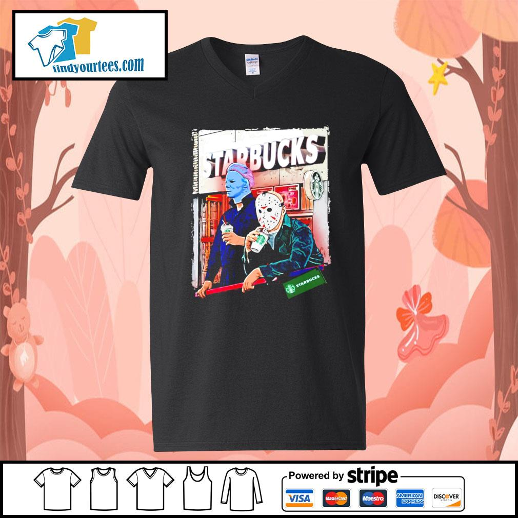 Michael Myers and Jason Voorhees drink Starbucks s V-neck-T-shirt