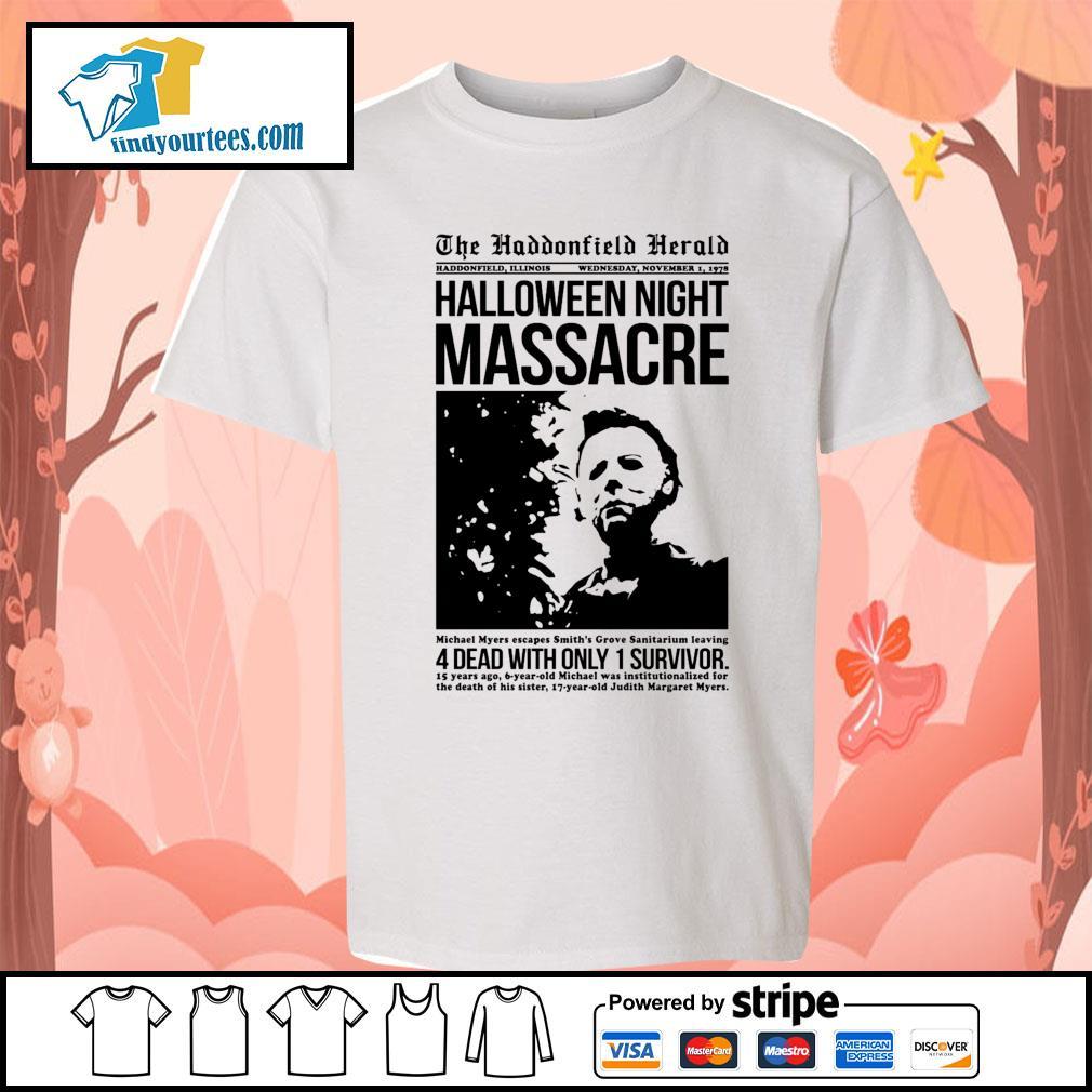 Michael Myers the haddonfield herald Halloween night massacre s Kid-T-shirt