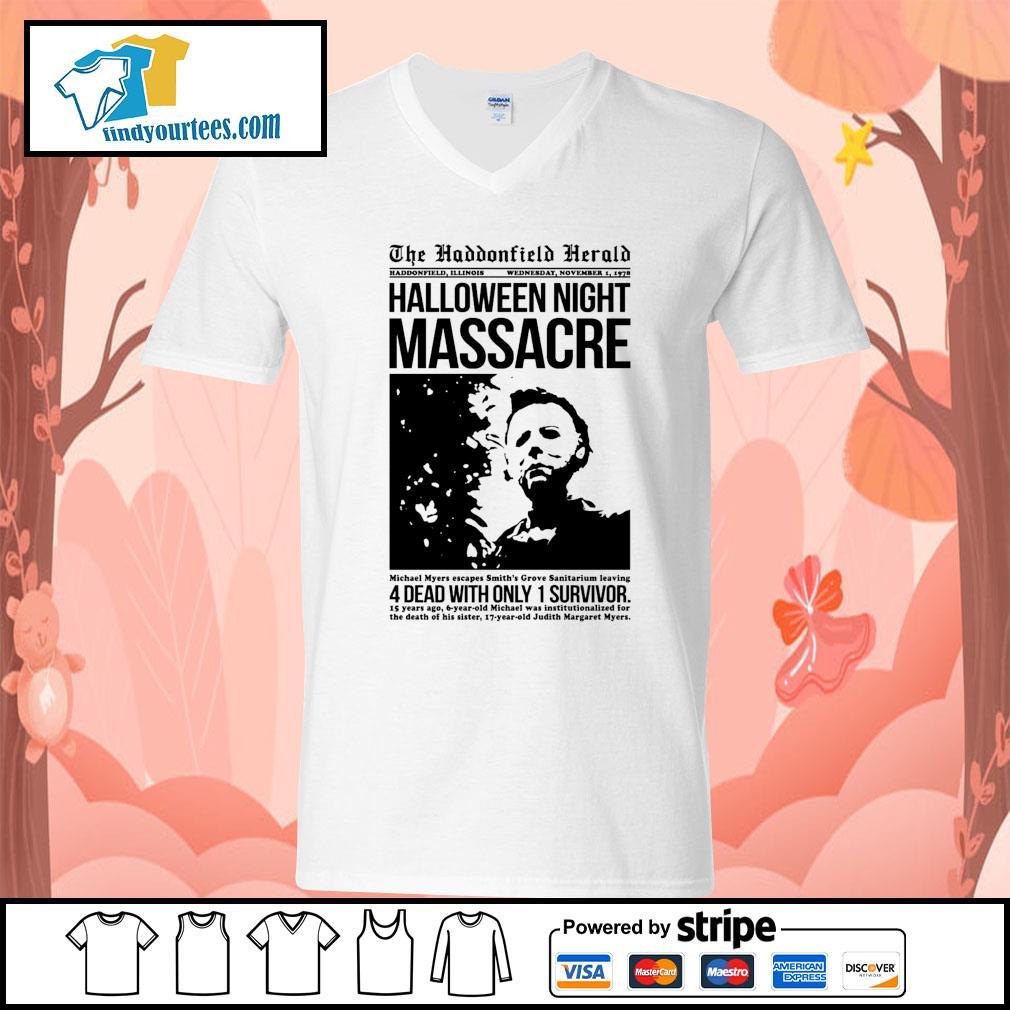 Michael Myers the haddonfield herald Halloween night massacre s V-neck-T-shirt