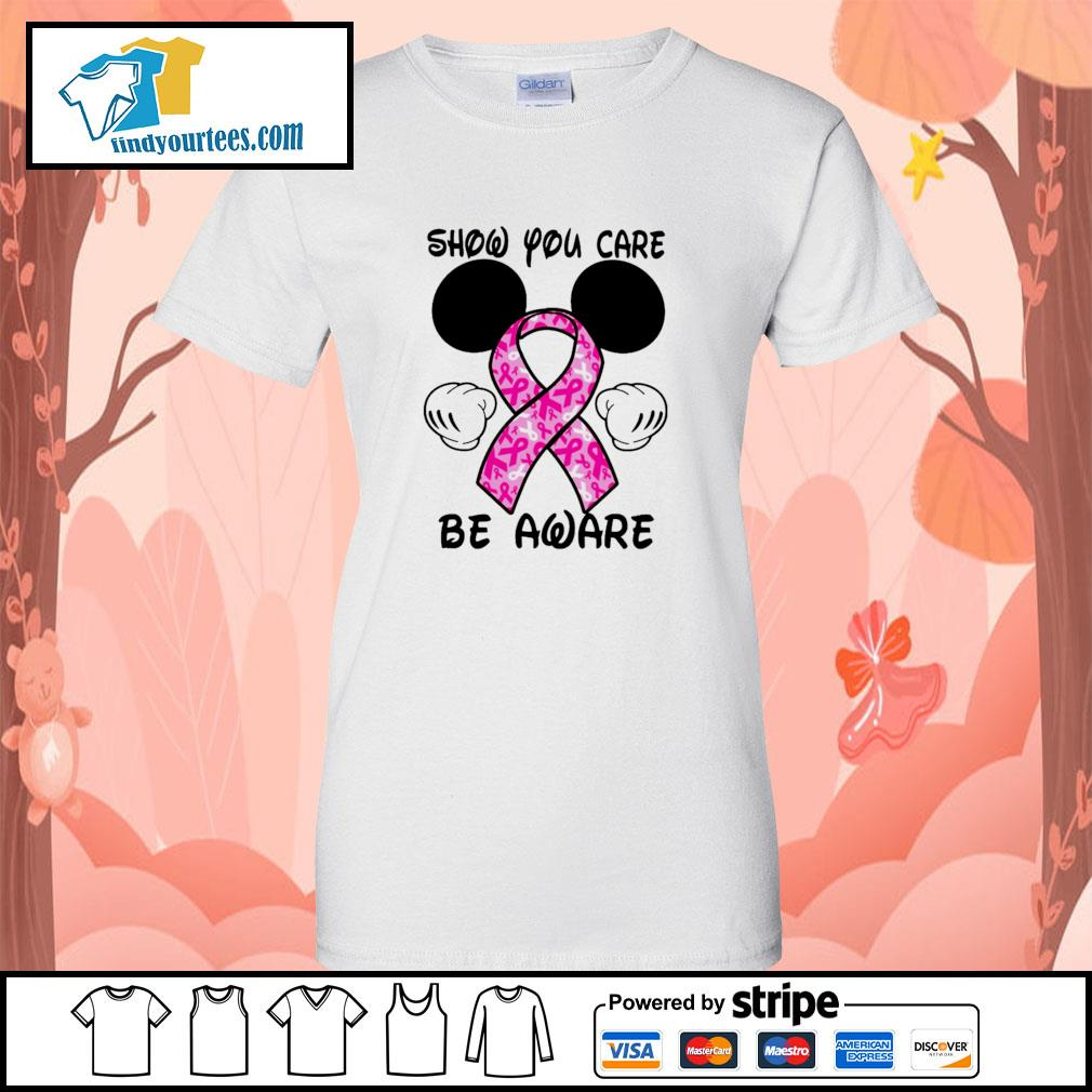 Mickey mouse show you care be aware breast cancer ladies-tee