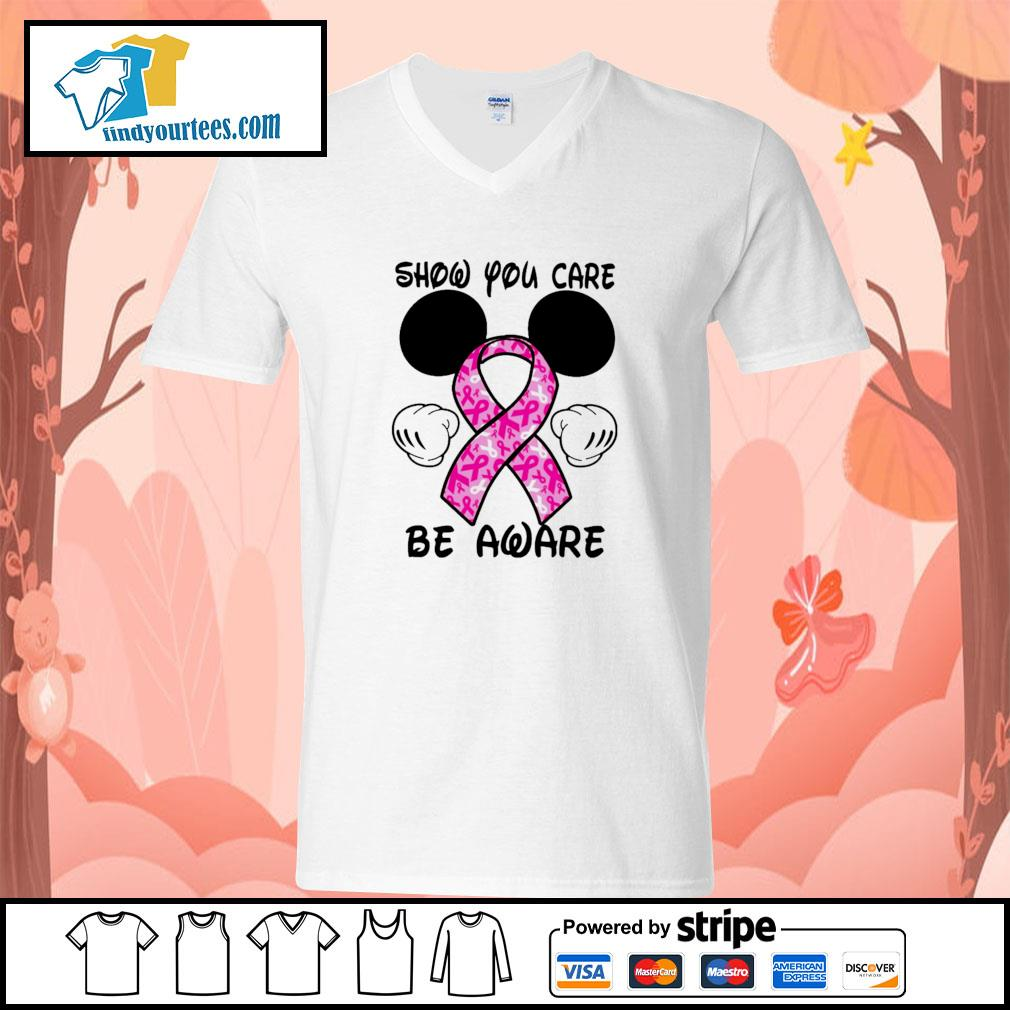 Mickey mouse show you care be aware breast cancer v-neck-t-shirt