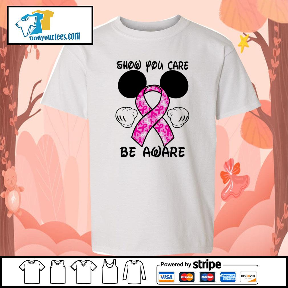 Mickey mouse show you care be aware breast cancer youth-tee