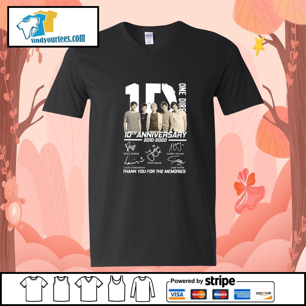 One dire 10th anniversary thank you for the memories signature s v-neck-t-shirt