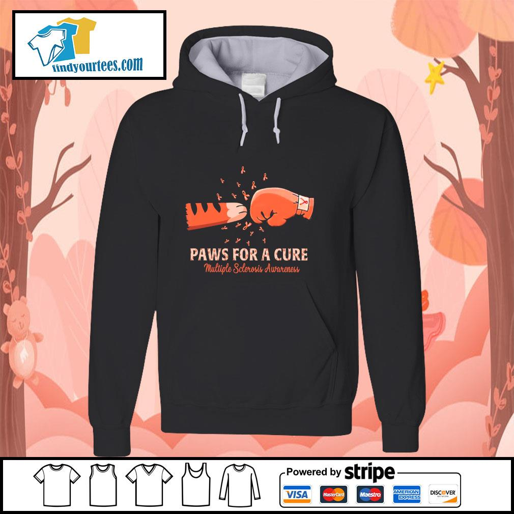 Paw for a cure multiple sclerosis awareness cancer s hoodie