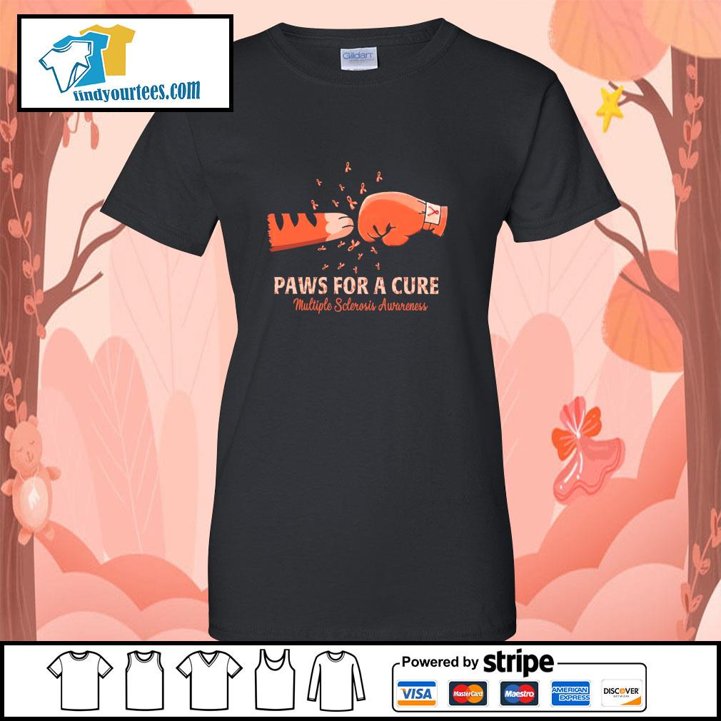 Paw for a cure multiple sclerosis awareness cancer s ladies-tee