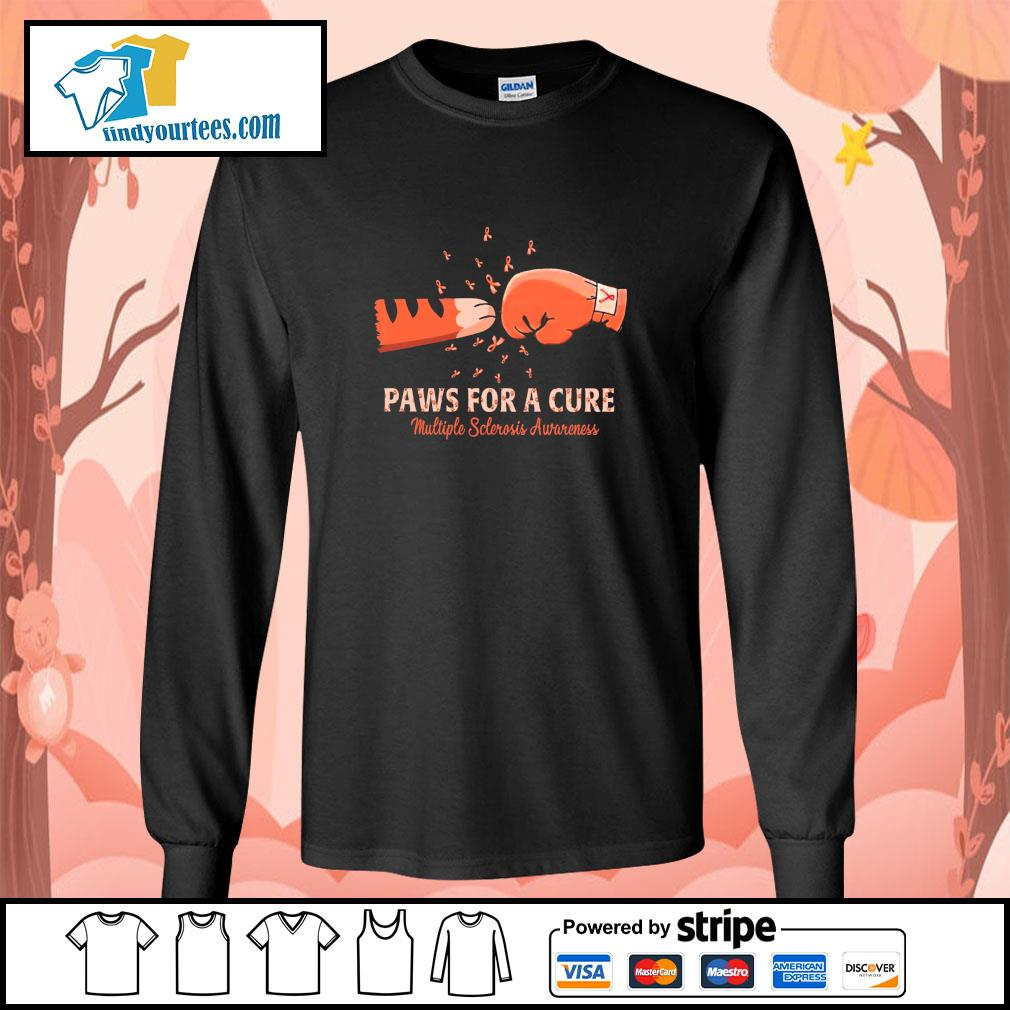 Paw for a cure multiple sclerosis awareness cancer s longsleeve-tee