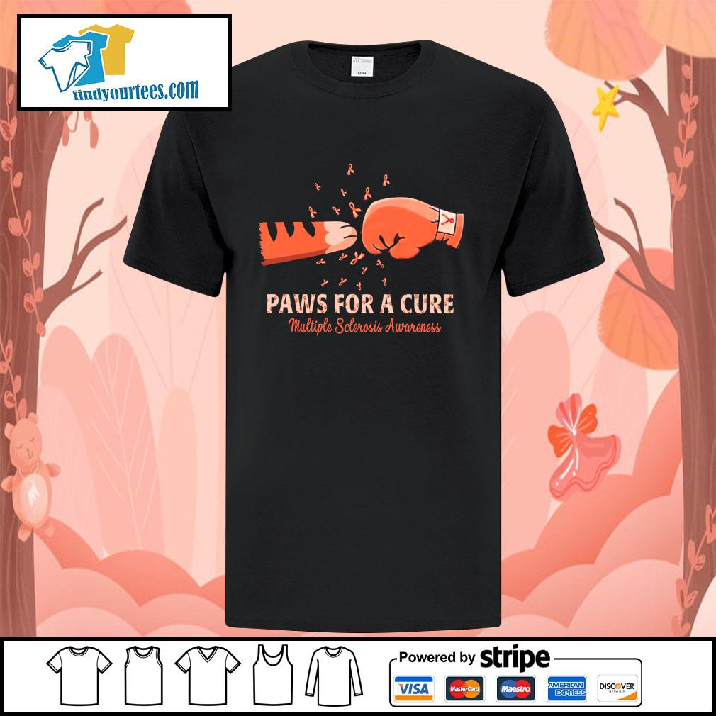 Paw for a cure multiple sclerosis awareness cancer shirt