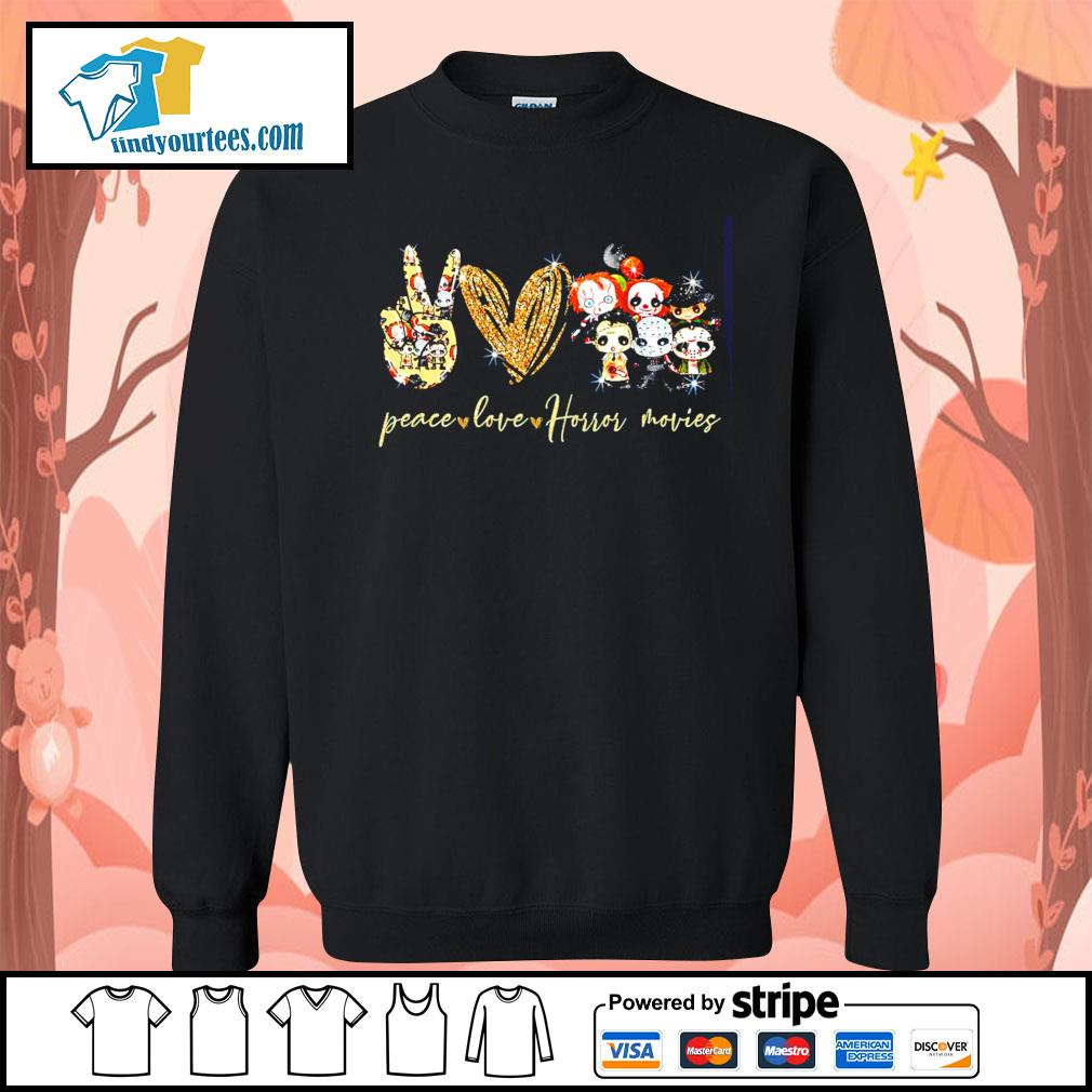 Peace love Horror movies character Halloween s Sweater