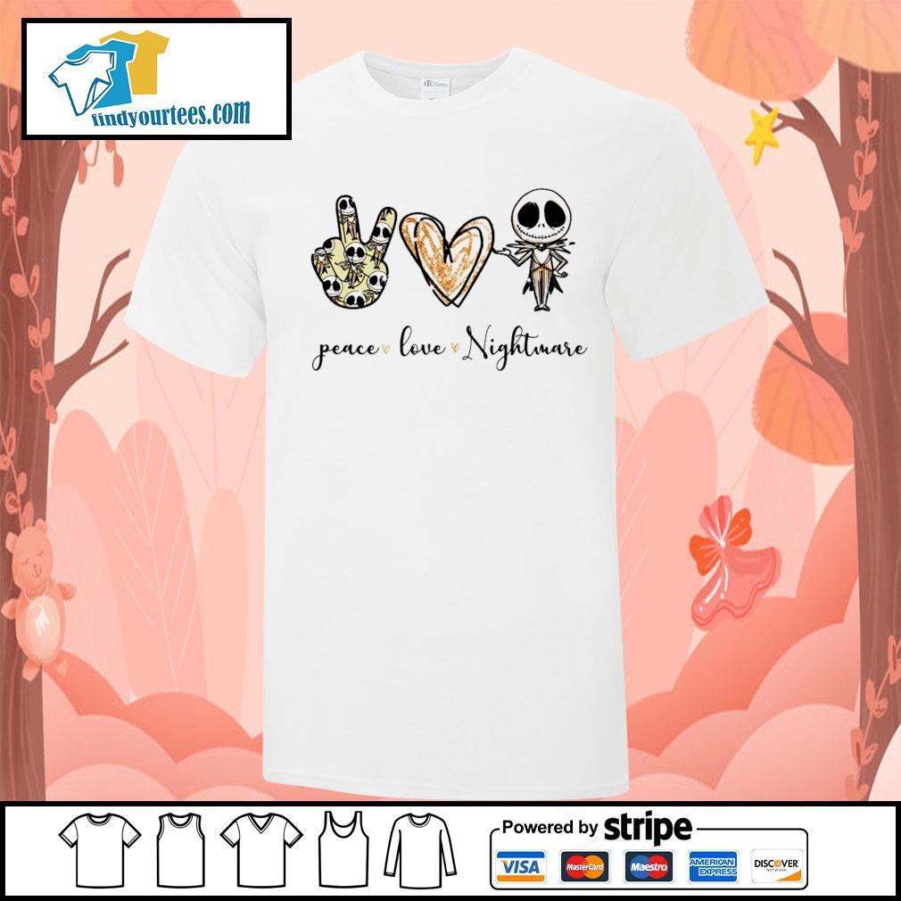 Peace love Nightmare Jack Skellington Halloween shirt