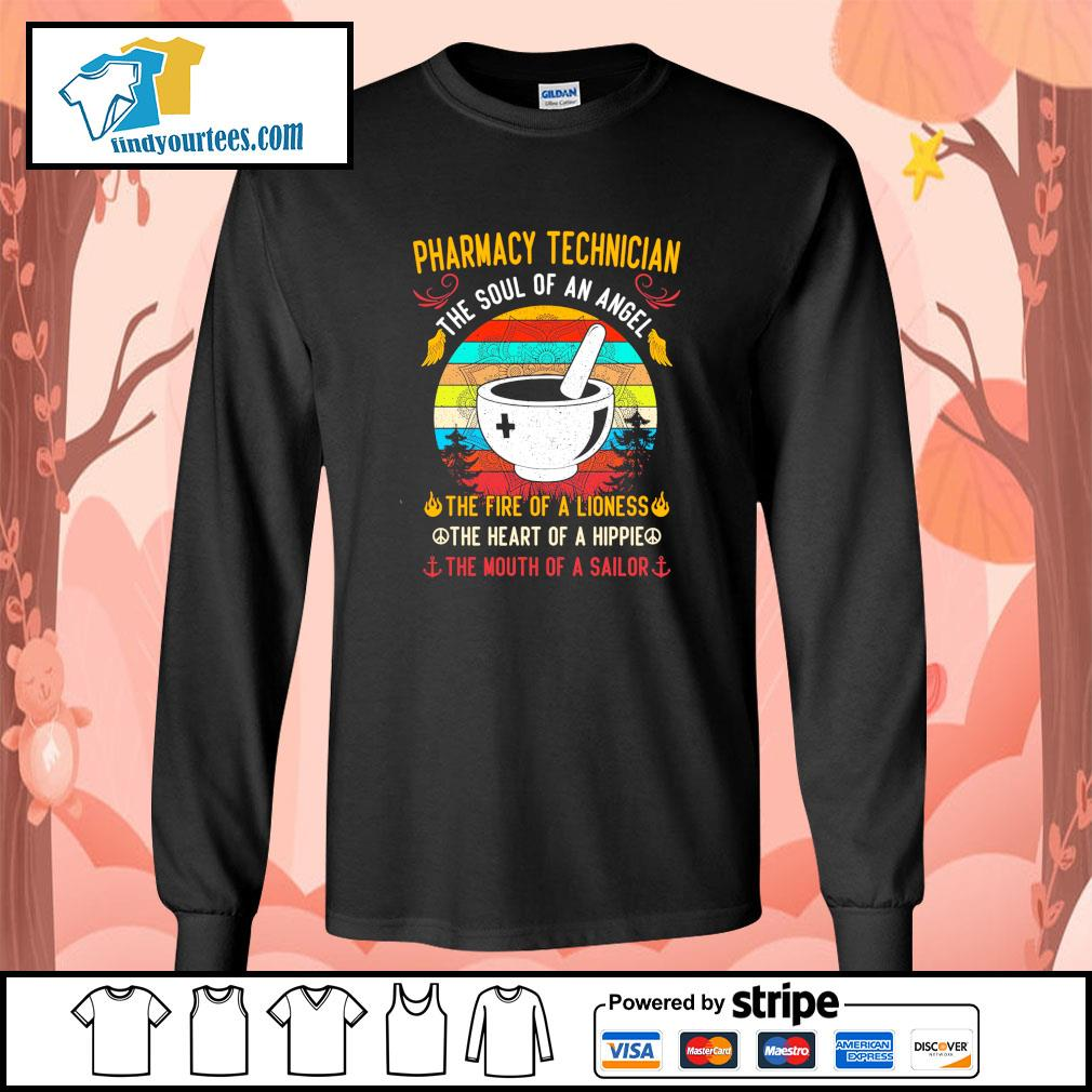 Pharmacy technician the soul of an angel the fire of a lioness vintage s longsleeve-tee