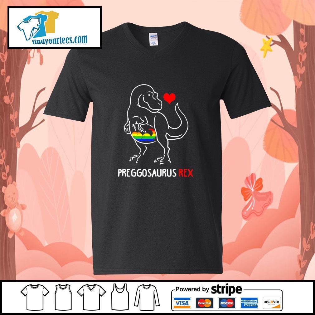 Preggosaurus rex love child LGBT s v-neck-t-shirt