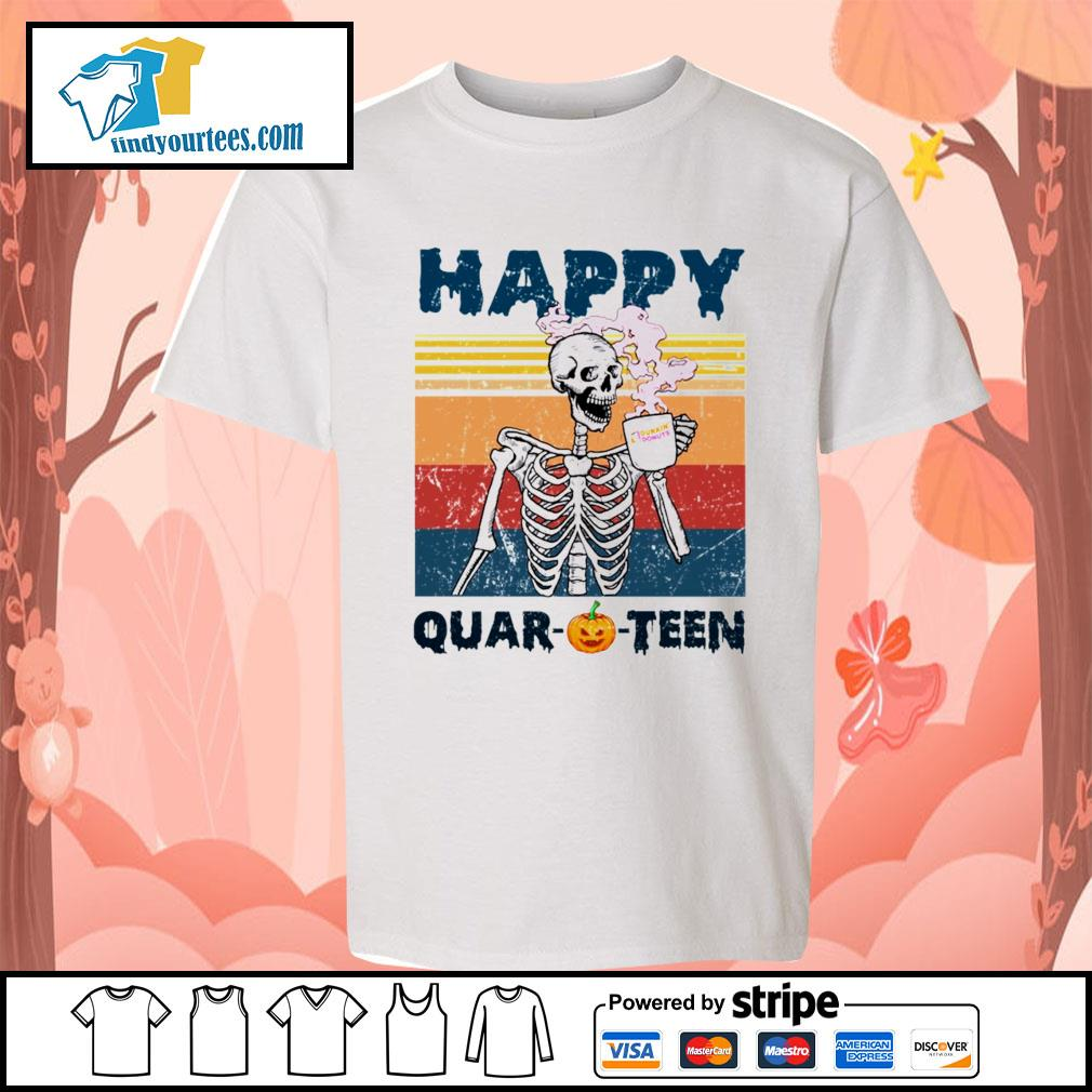 Skellington drink Dunkin' Donuts happy Quar-O-Teen Halloween vintage s Kid-T-shirt