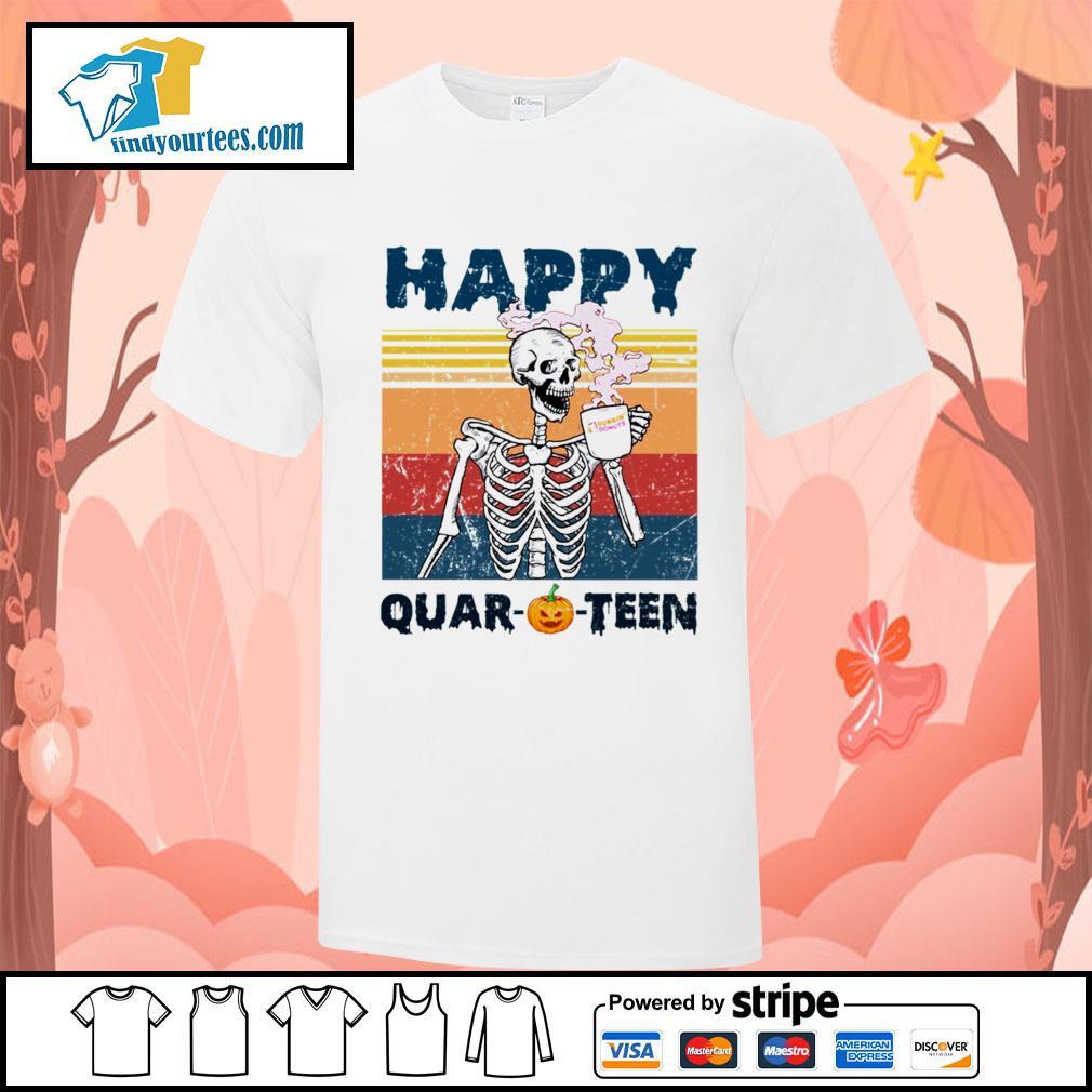 Skellington drink Dunkin' Donuts happy Quar-O-Teen Halloween vintage shirt
