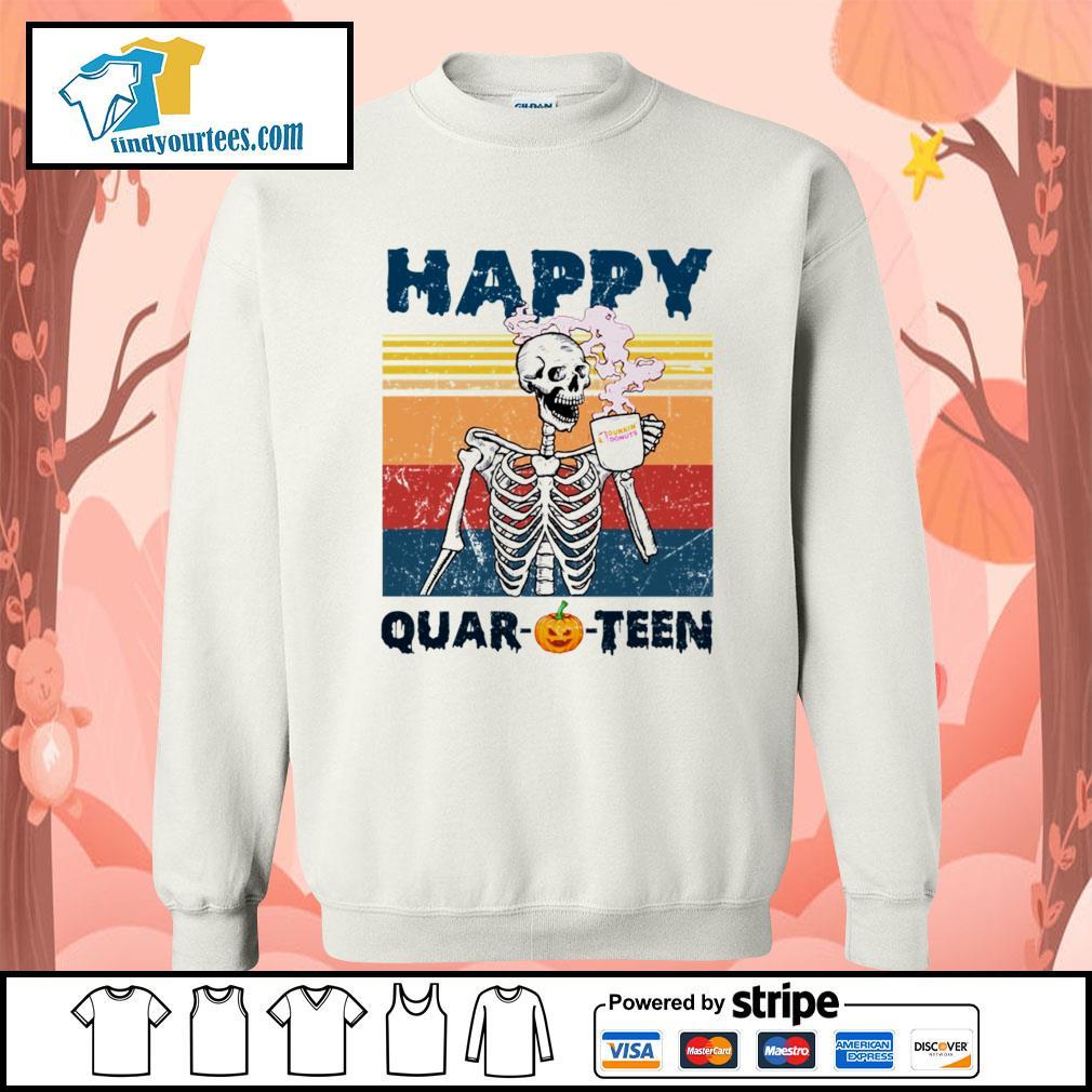 Skellington drink Dunkin' Donuts happy Quar-O-Teen Halloween vintage s Sweater