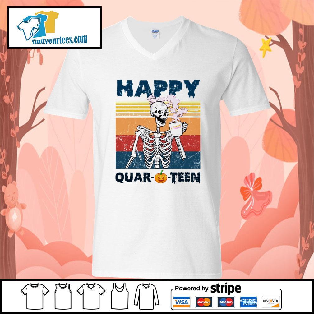 Skellington drink Dunkin' Donuts happy Quar-O-Teen Halloween vintage s V-neck-T-shirt