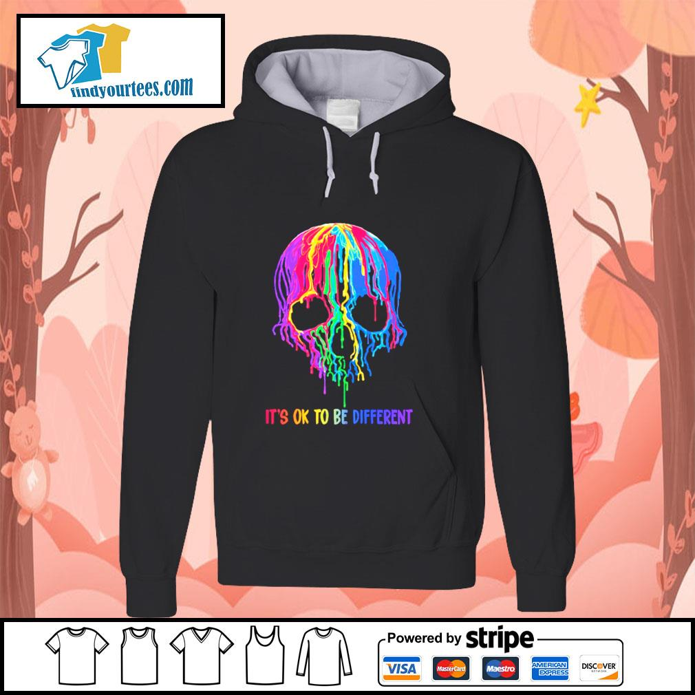 Skull colorful it's ok to be different s hoodie