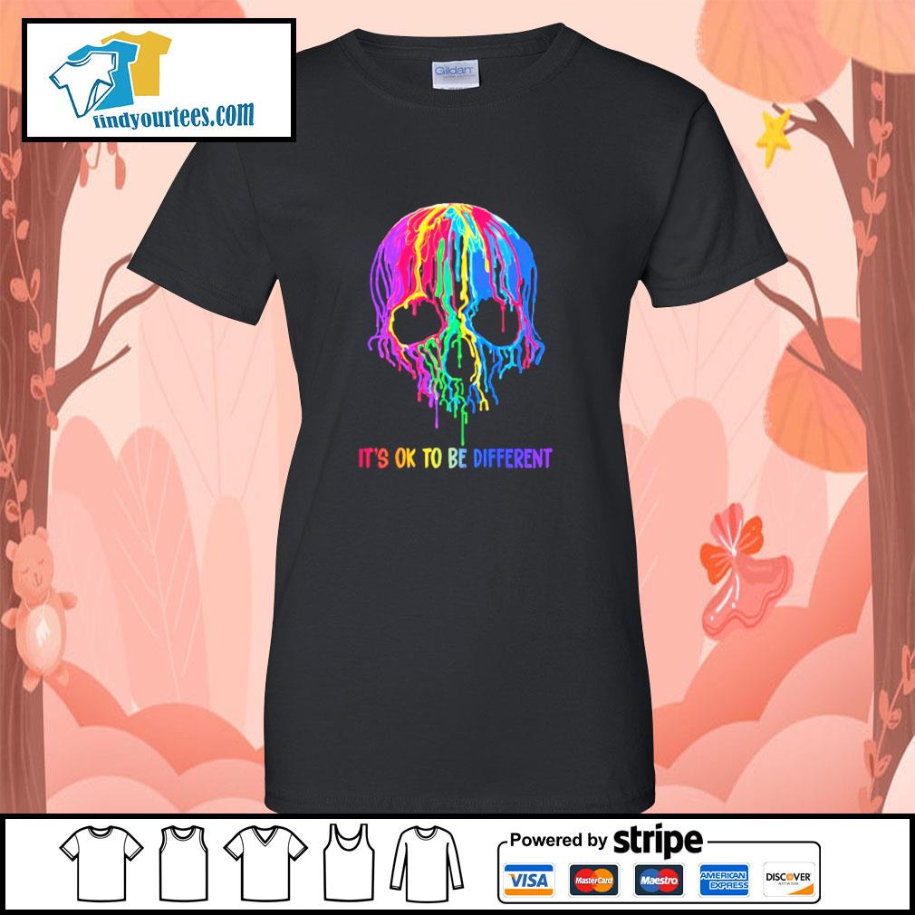 Skull colorful it's ok to be different s ladies-tee