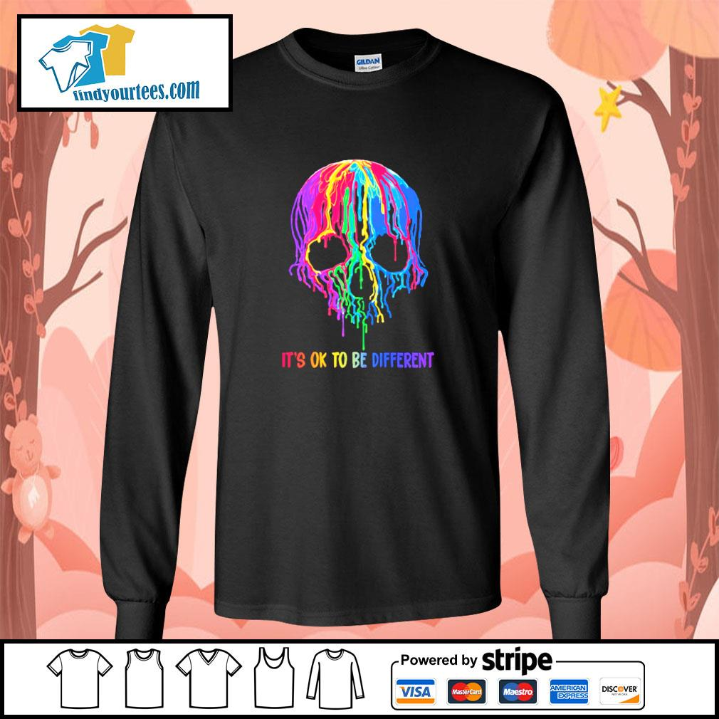 Skull colorful it's ok to be different s longsleeve-tee