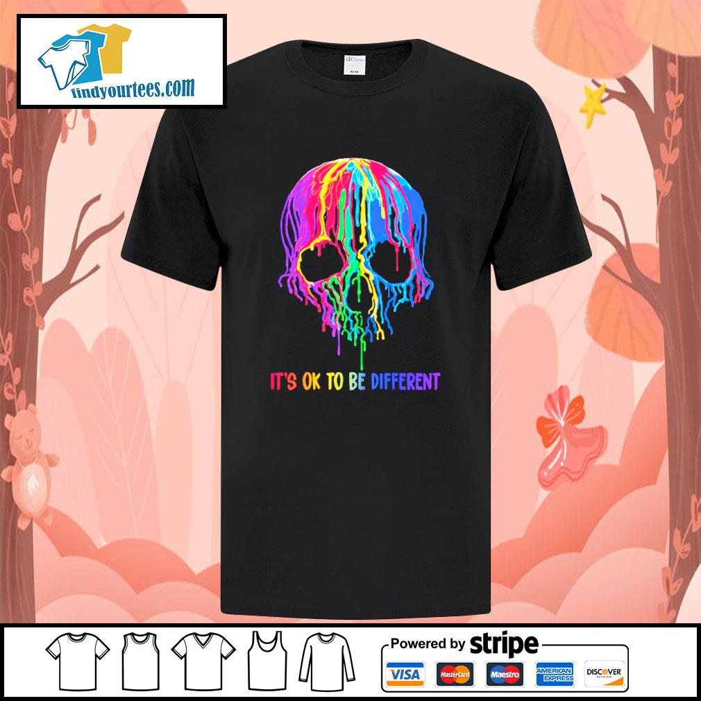 Skull colorful it's ok to be different shirt