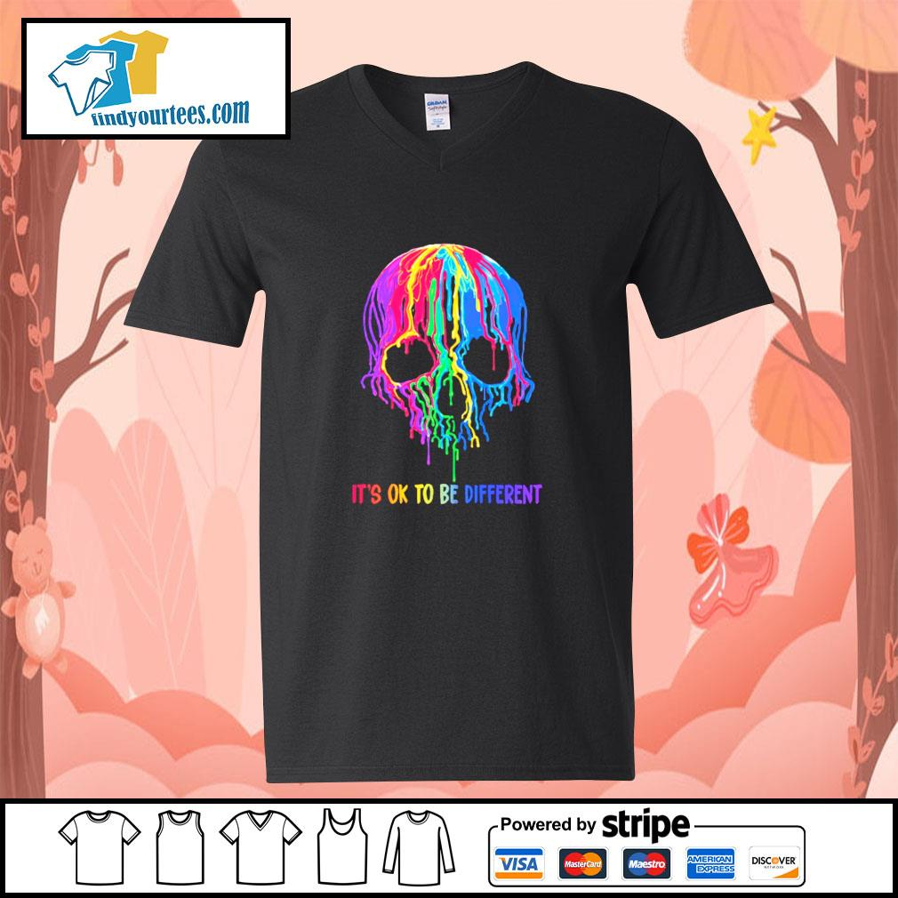 Skull colorful it's ok to be different s v-neck-t-shirt