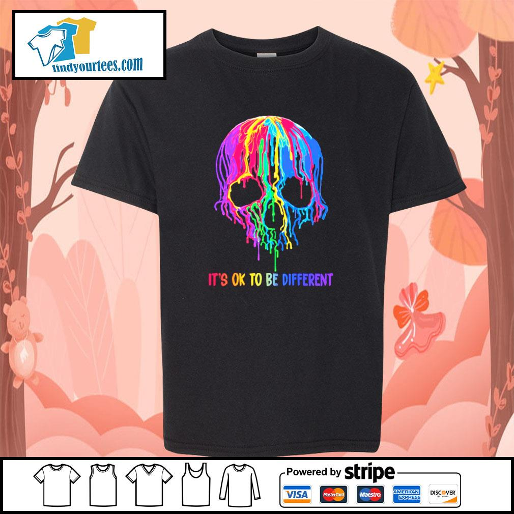 Skull colorful it's ok to be different s youth-tee