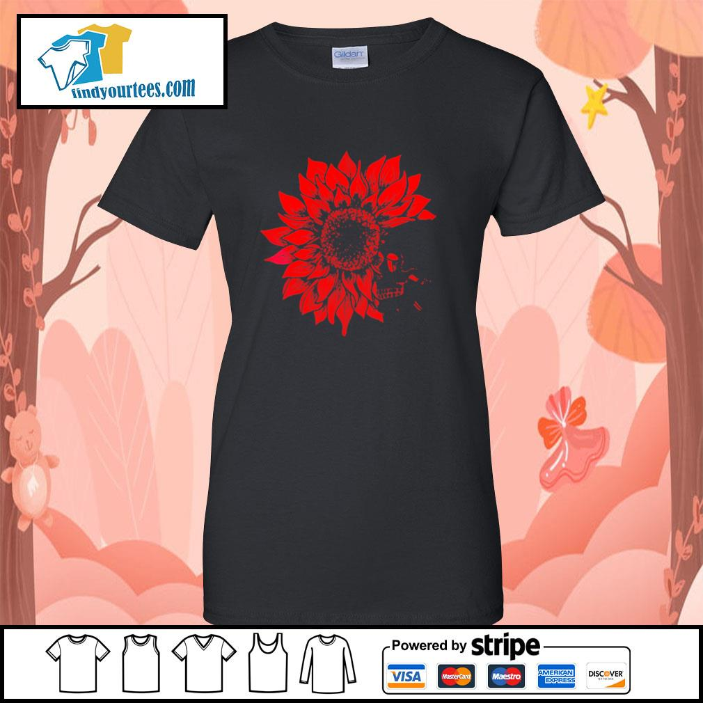 Skull Red Sunflower ladies-tee