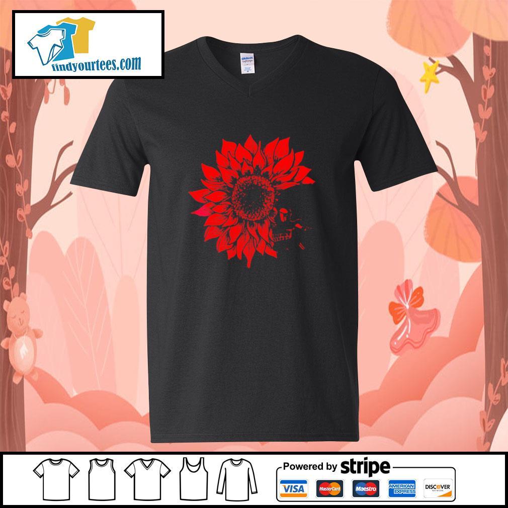 Skull Red Sunflower v-neck-t-shirt