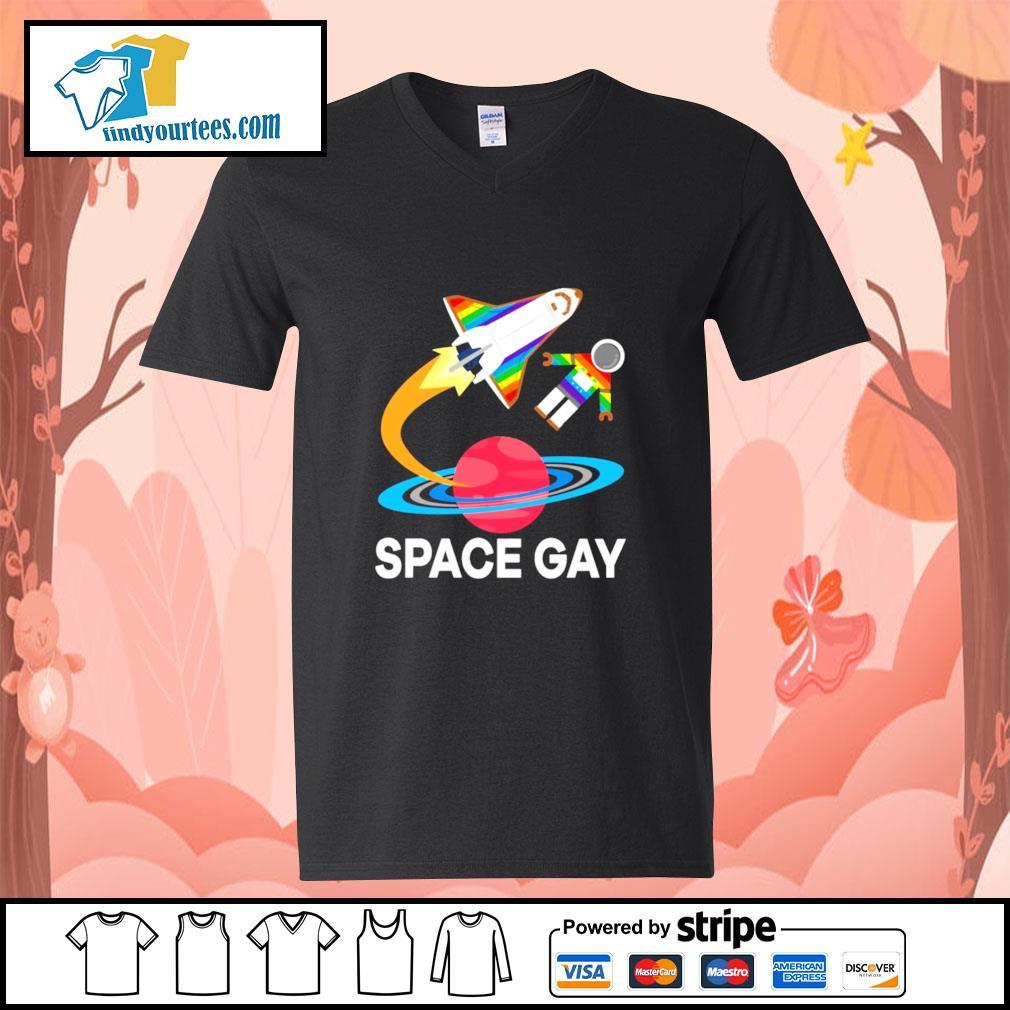 Space gay LGBT s v-neck-t-shirt