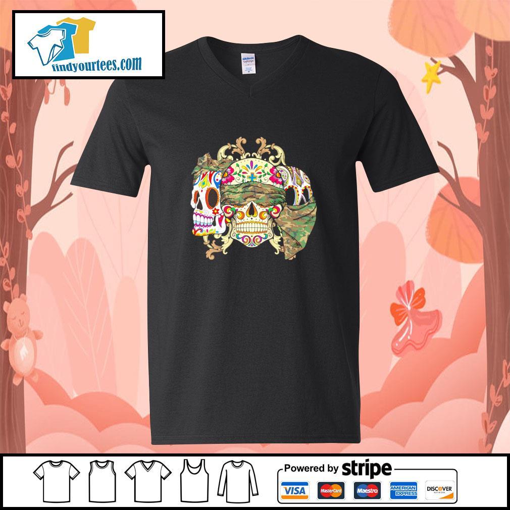 Sugar Skull Camouflage v-neck-t-shirt