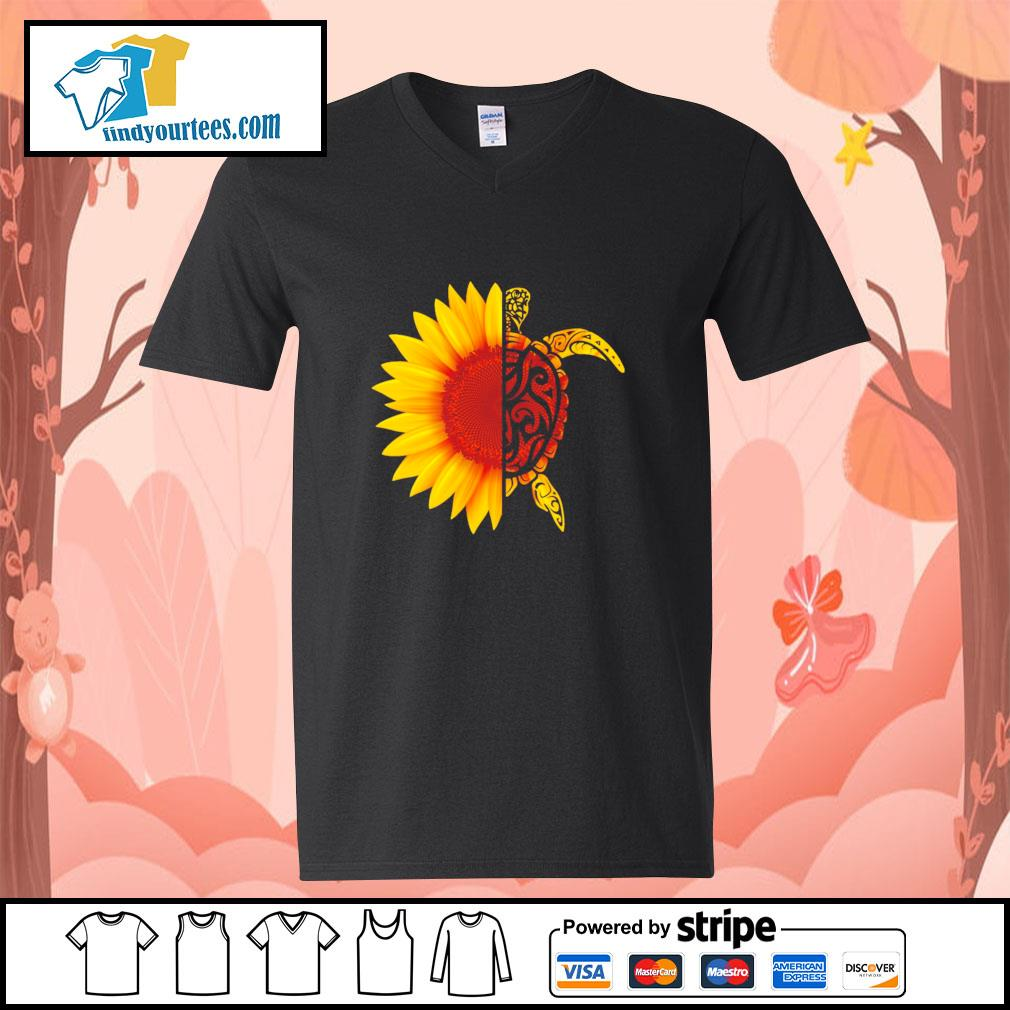 Sunflower turtle s v-neck-t-shirt
