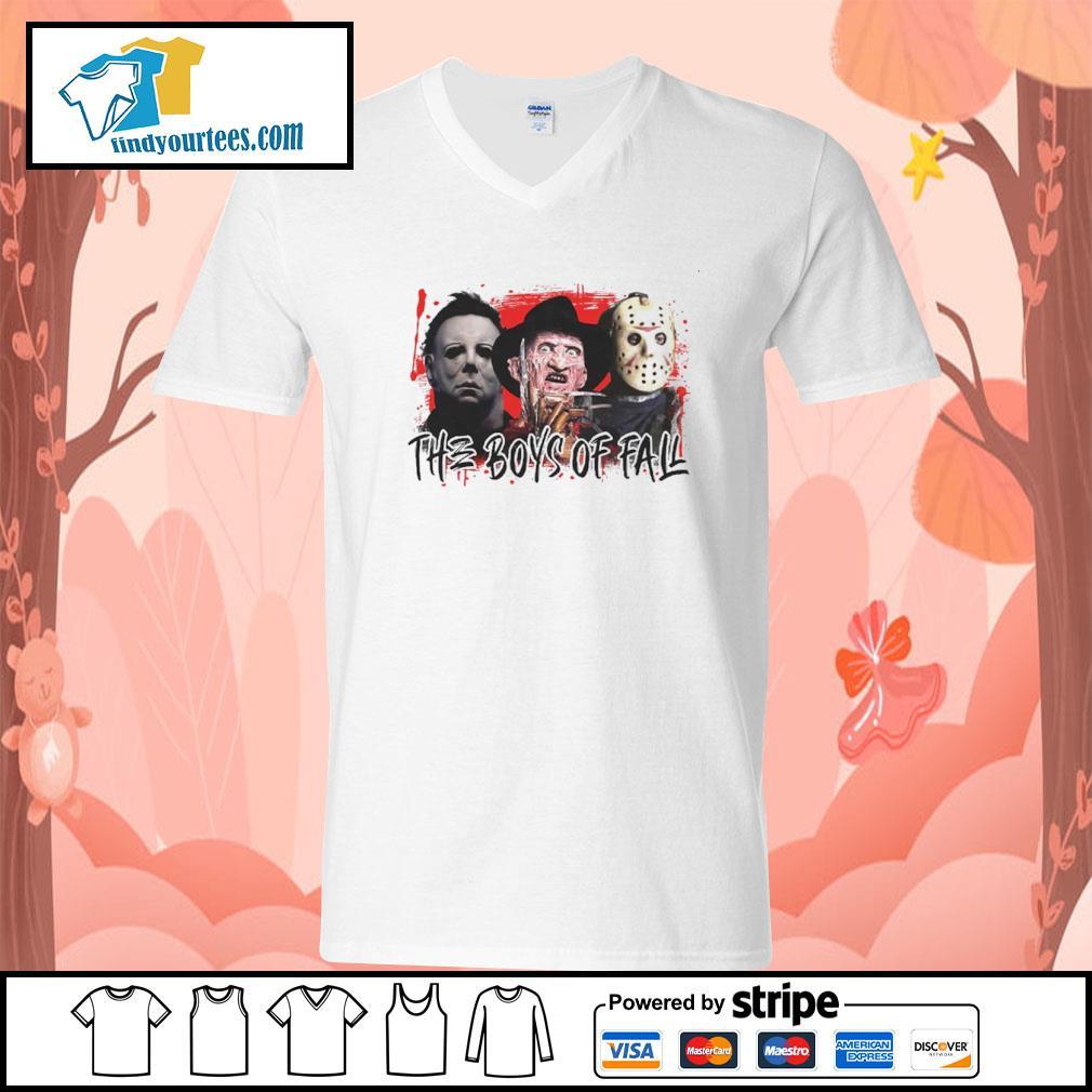 The boys of fall Michael Myers Freddy Krueger Jason Voorhees s v-neck-t-shirt