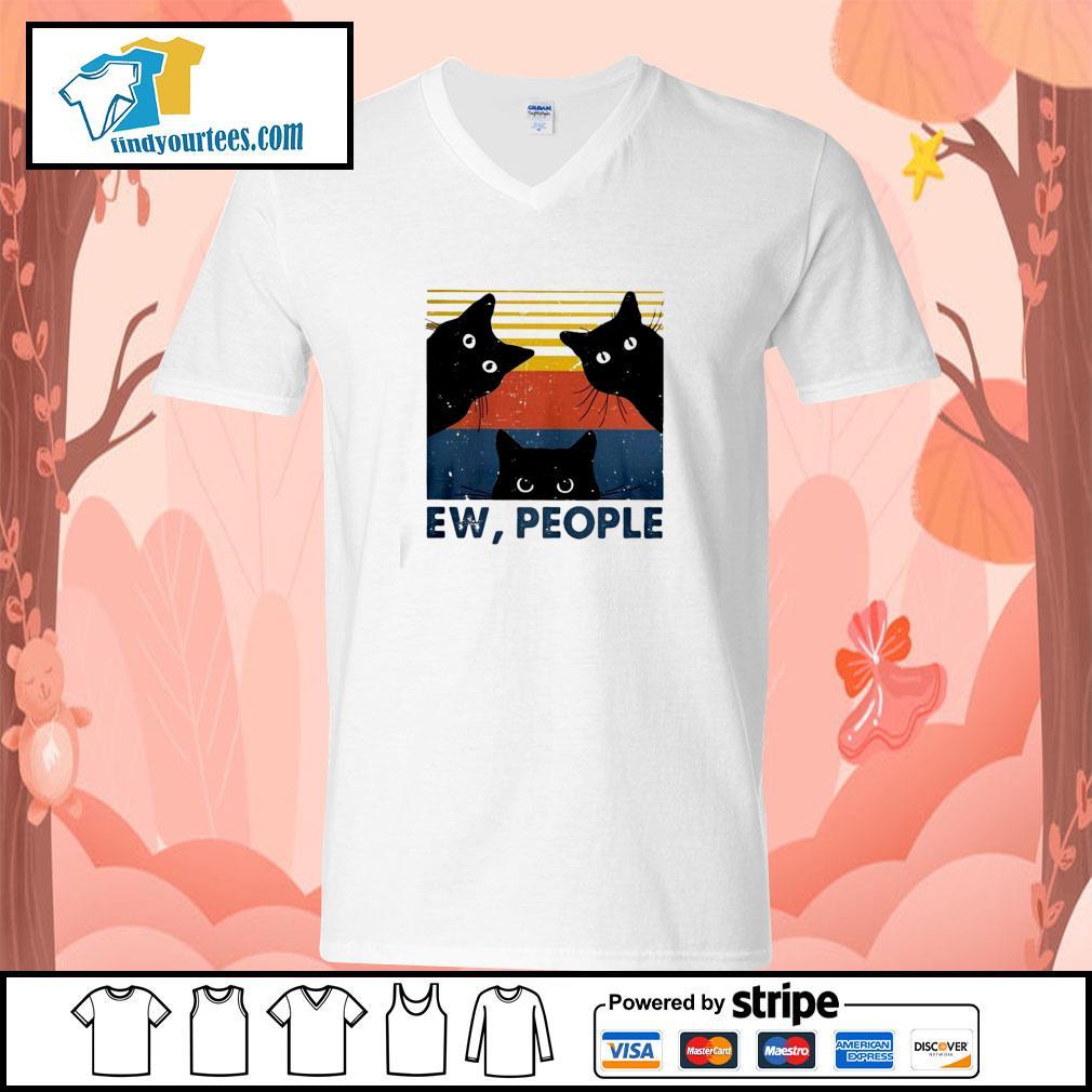Three black cat ew people vintage s v-neck-t-shirt