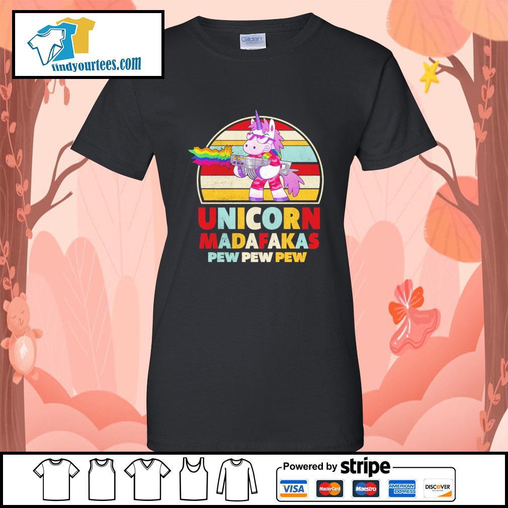 Unicorn madafakas pew pew pew vintage LGBT s ladies-tee
