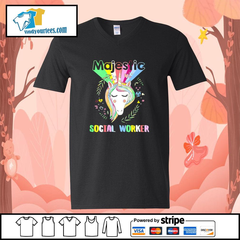 Unicorn majestic social worker s v-neck-t-shirt