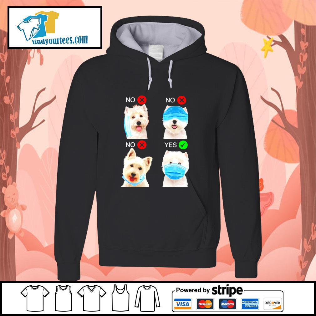 West highland white terrier right wear the mask s hoodie