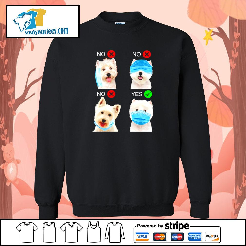 West highland white terrier right wear the mask s sweater