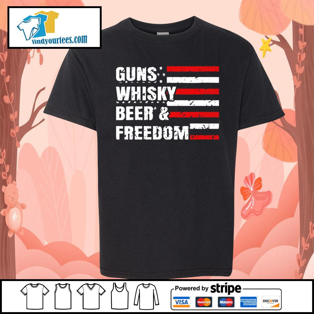 American flag guns whisky beer and freedom s Kid-T-shirt