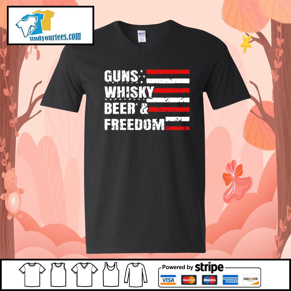 American flag guns whisky beer and freedom s V-neck-T-shirt