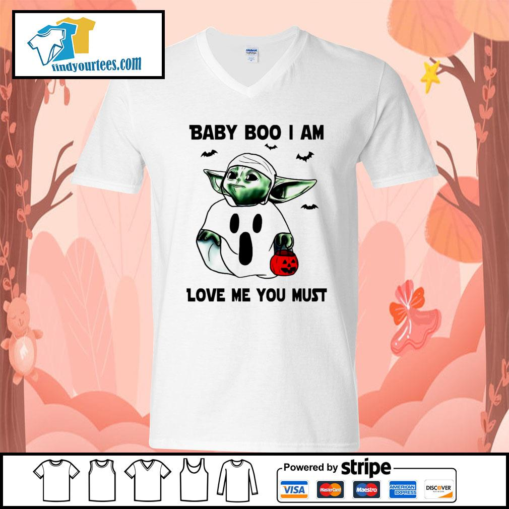 Baby Yoda Baby Boo I am love me you must Halloween s V-neck-T-shirt