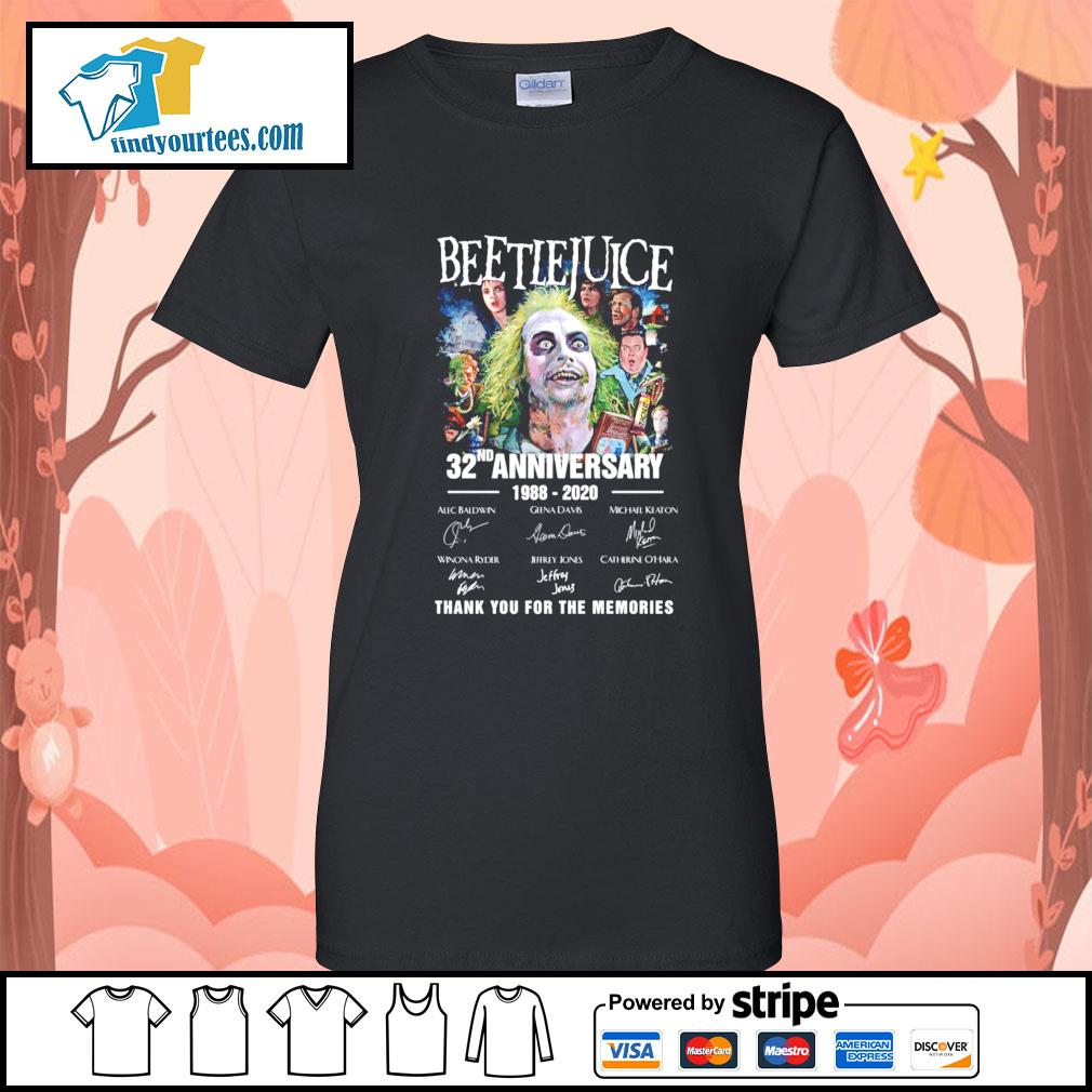 Beetlejuice 32nd anniversary 1988 220 thank you for the memories s Ladies-Tee