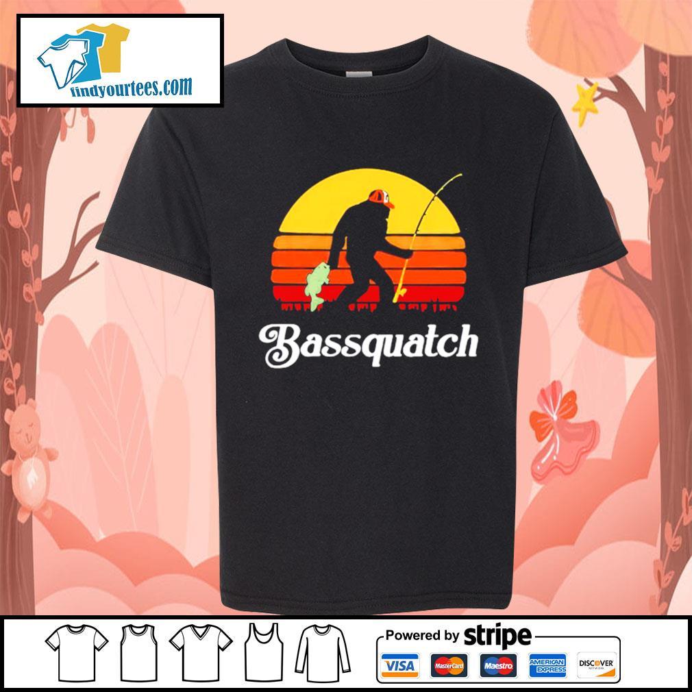 Bigfoot fishing bassquatch vintage s Kid-T-shirt