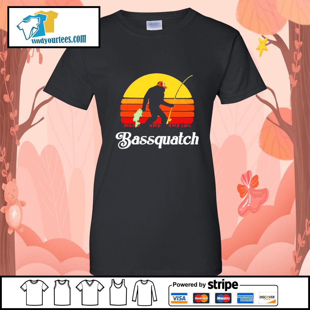 Bigfoot fishing bassquatch vintage s Ladies-Tee