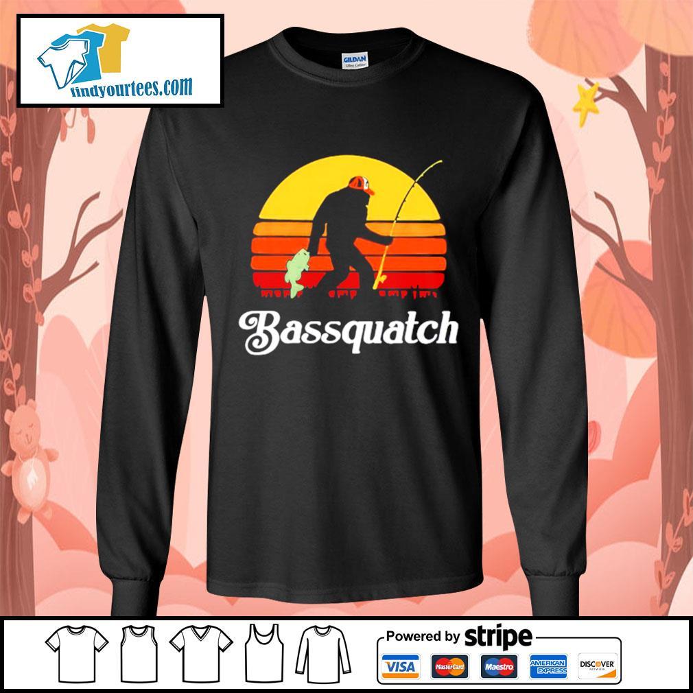 Bigfoot fishing bassquatch vintage s Long-Sleeves-Tee