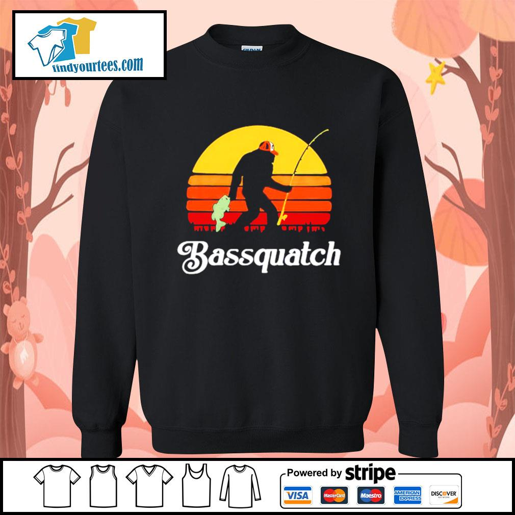 Bigfoot fishing bassquatch vintage s Sweater