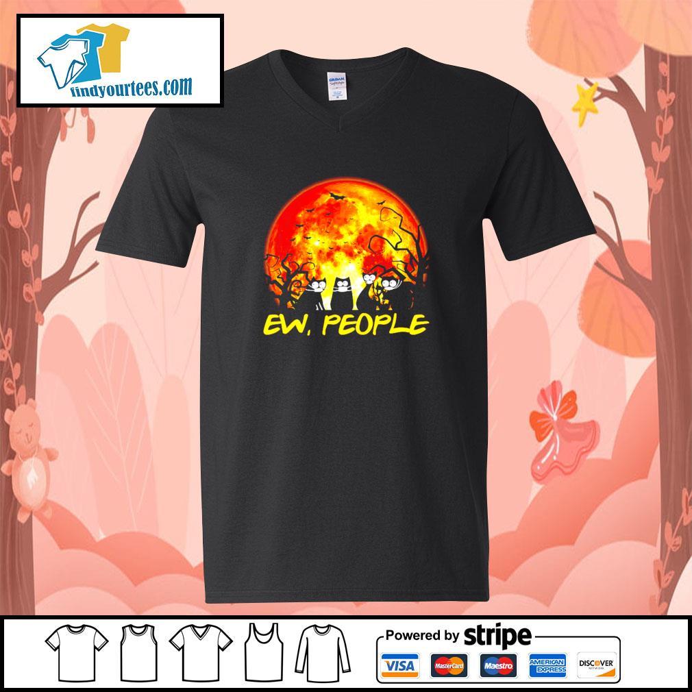 Black cat ew people Halloween s V-neck-T-shirt