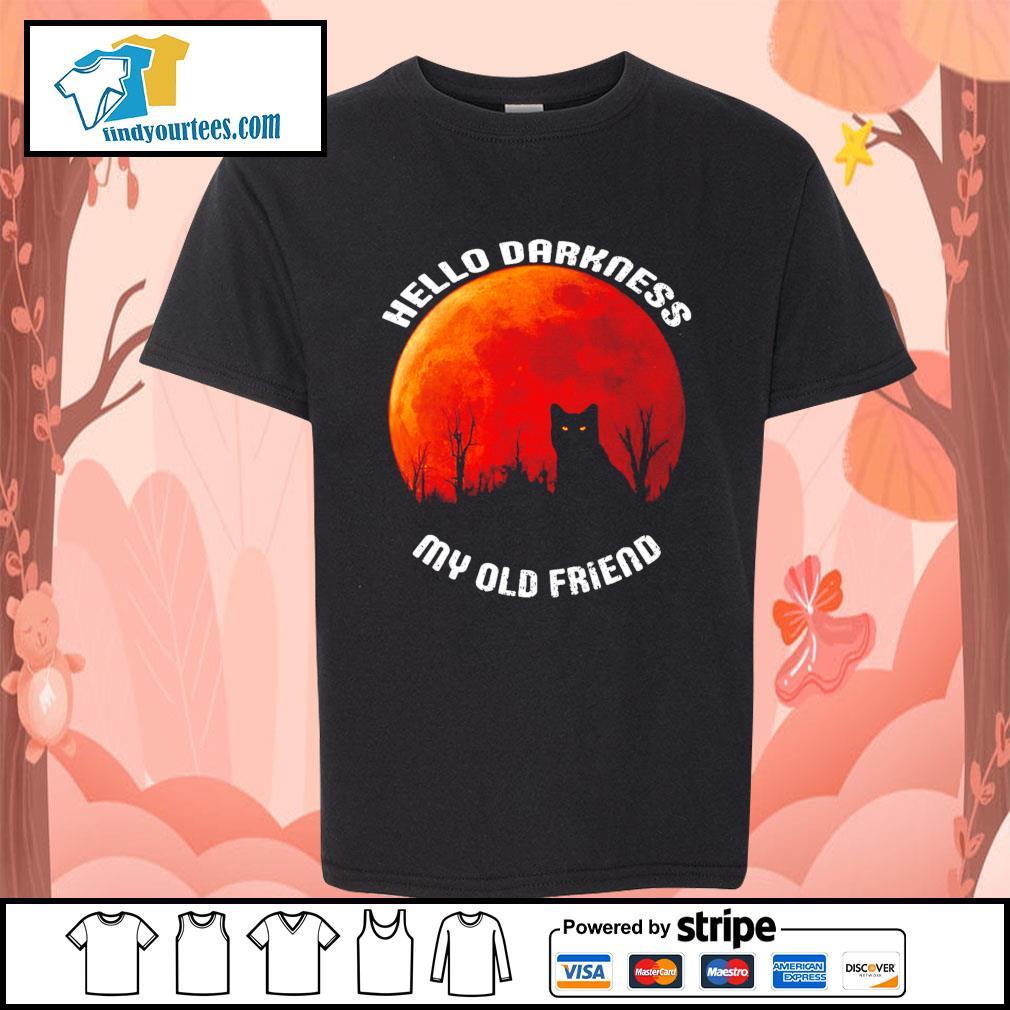 Black cat hello darkness my old friend Halloween s Kid-T-shirt