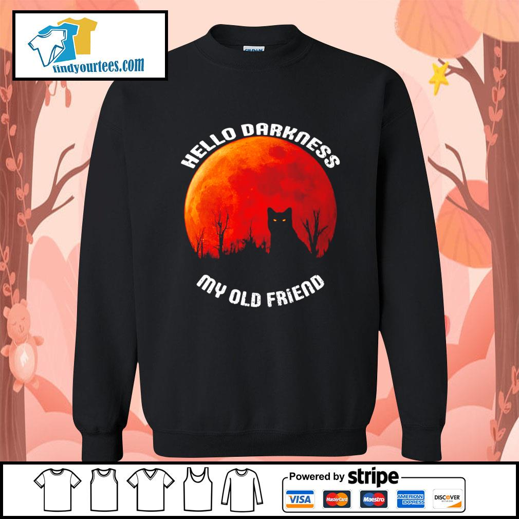 Black cat hello darkness my old friend Halloween s Sweater